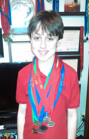 Colin with his medals